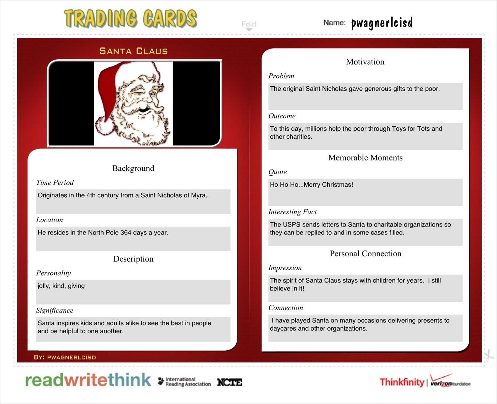 trading card creator read write and think