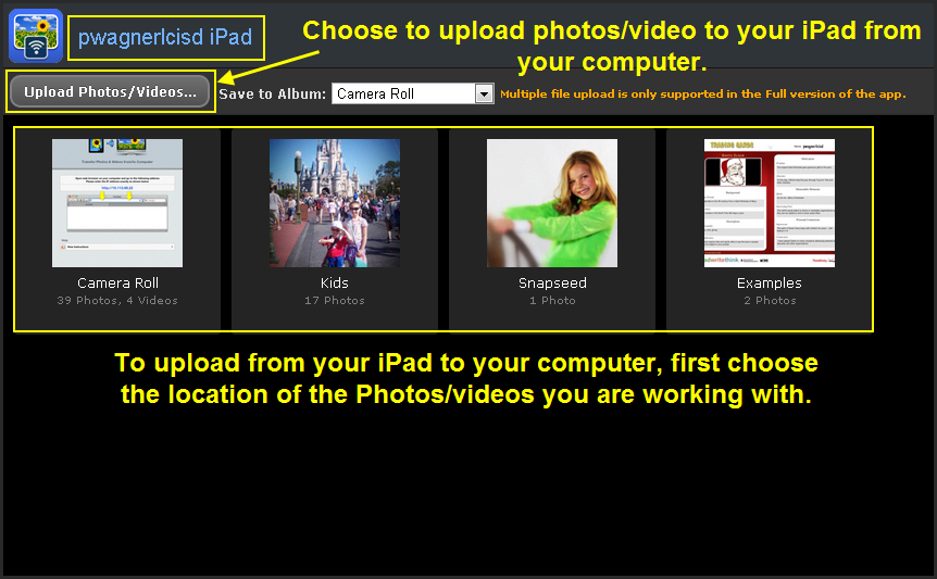 how to move photos from computer to ipad