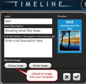 timeline entering information